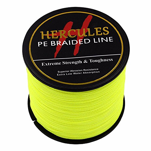 500m 547yds Fluorescent Yellow 6lbs-100lbs Hercules Pe Dyneema Braided Fishing Line 4 Strands (80lb/36.3kg 0.48mm) 80 Lb Casting