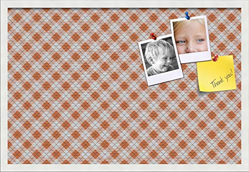 PinPix ArtToFrames 30x20 Inch Custom Cork Bulletin Board. This Argyle Burnt Orange Pin Board with a Fabric Style Canvas Finish, in a Satin White Frame (PinPix-634-30x20_FRBW26074) ()