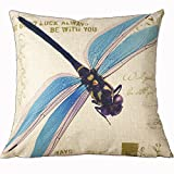 HomeTextilesArt 18 X 18 Inch Cotton Linen Retro Vintage Home Decorative Indoor/Outdoor Throw Cushion Cover / Pillow Sham Dragonfly