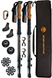 Trekking Poles for Men Women Full Kit - 100% Carbon Fiber Walking Sticks Lightweight Collapsible Strong Adjustable with Comfortable Cork Handles - Perfect Hiking Gear Walking Poles for Hiking
