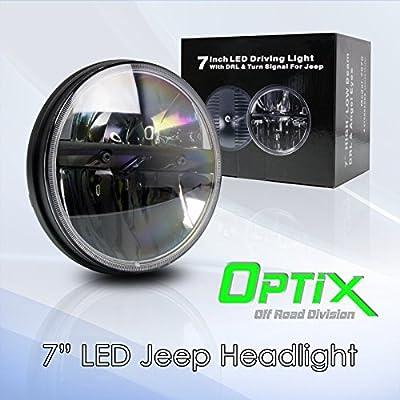 "Optix 1x 7"" Inch 40W CREE LED Headlight High / Low Beam for 1997-2016 Jeep Wrangler CJ TJ JK Sahara Rubicon Sport Unlimited"