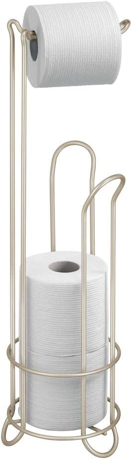 iDesign Classico Metal Toilet Tissue Roll Reserve Organizer for Bathroom, Compact Organizer, Holds 4 Rolls of Toilet Paper, Satin Silver