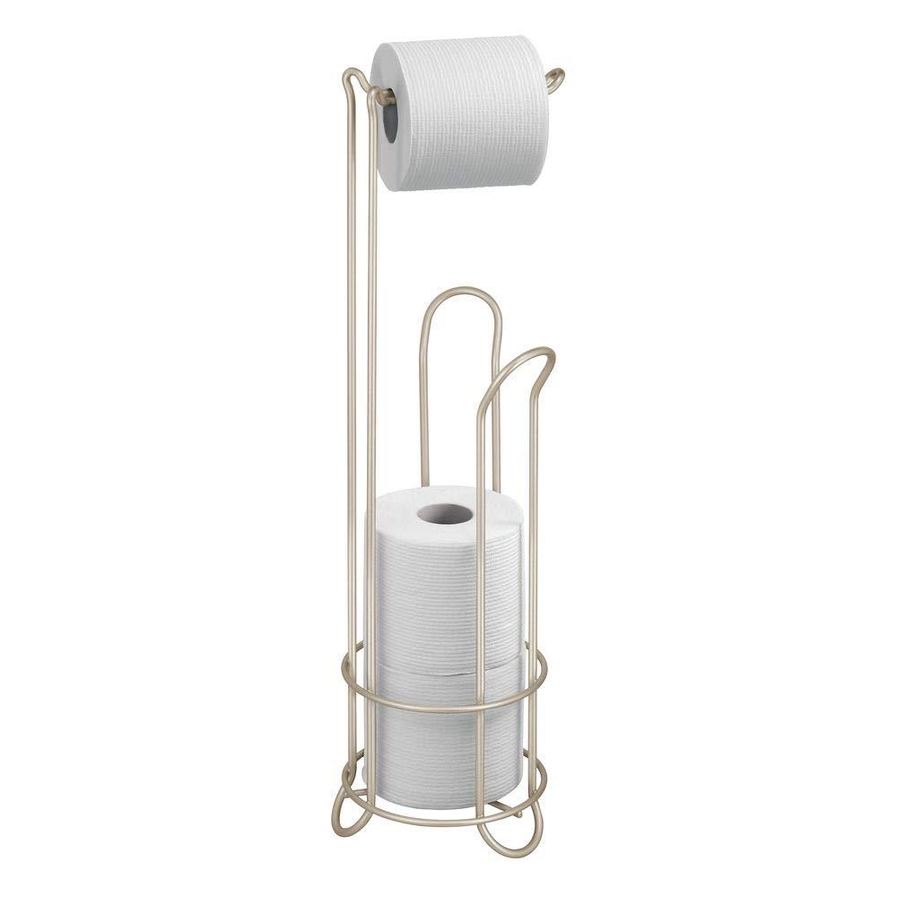 InterDesign Classico - Free Standing Toilet Paper Holder for Bathroom Storage - Satin