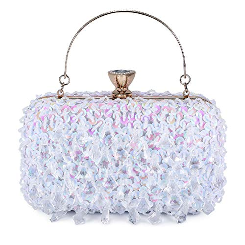 UBORSE Women Clutch Wedding Purse Rhinestone Crystal Beaded Bags Cocktail Party Bridal Prom Handbag for Women White
