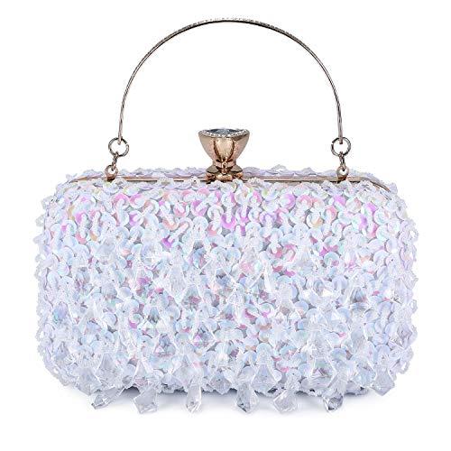(UBORSE Women Clutch Wedding Purse Rhinestone Crystal Beaded Bags Cocktail Party Bridal Prom Handbag for Women White)