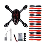 Kingtoys for Hubsan Crash Pack X4 H107c Quadcopter, Includes Body Shell, 1x Blade Cover, 8x Pair of Black and Green Propellers, Flight Battery, 4x Rubber Feet, 2x Motors, 2x LED Lights ,Black/red