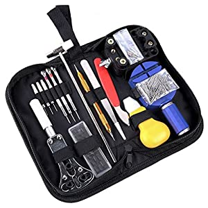 Ohuhu Watch Repair Tool Kit, Case Opener Spring Bar Watch Band Link Tool Set With Carrying Bag, Replace Watch Battery Helper Multifunctional Tools With User Manual For Beginner