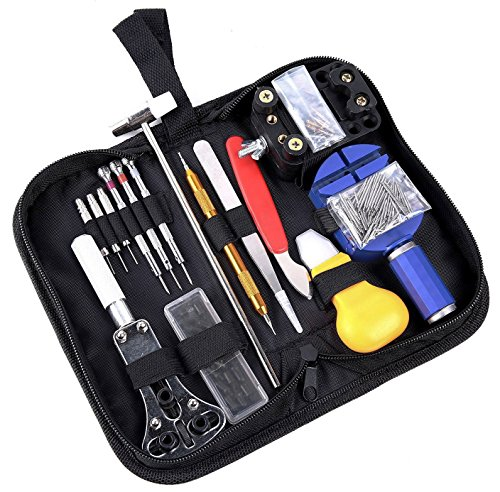 Ohuhu 147 PCS Watch Repair Tool Kit, Case Opener Spring Bar Watch Band Link Tool Set With Carrying Bag, Replace Watch Battery Helper Multifunctional Tools With User Manual For Beginner ()