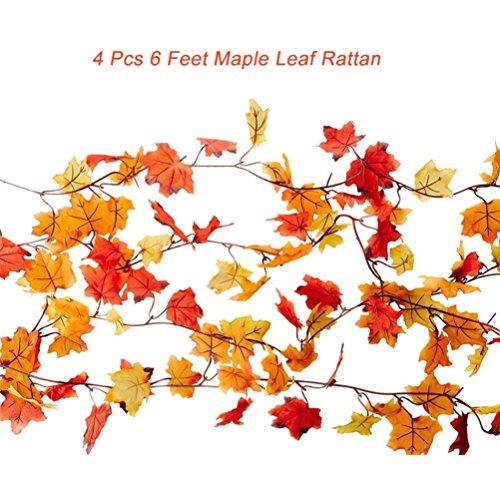 心理学粘液労苦Sannysis 4pcsガーランドFall Maple Leaves感謝祭装飾オレンジレッドリーフラタン1.8 M (オレンジ)