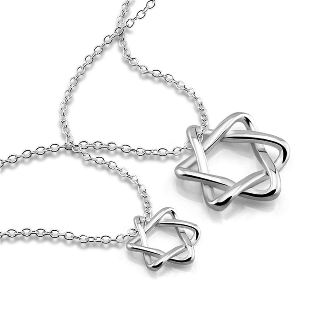 YHDBH Six Hollow Star 925 Sterling Silver Pendant Necklace Charm Lady Jewelry Gift