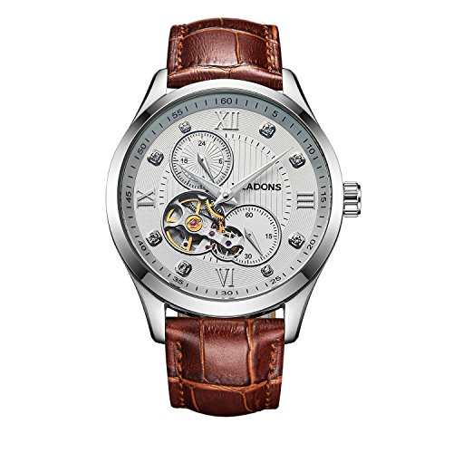 VEADONS Men's Hands Auto Mechanical Watches Genuine Leather Wristwatch