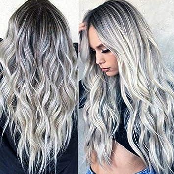 cheveux long gris femme