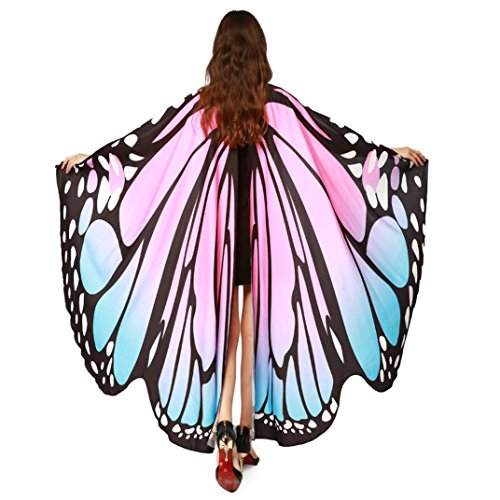 Butterfly Wings Shawl,WuyiMC Women Soft Polyester Scarves Fairy Ladies Nymph Pixie Poncho Costume Accessory (Pink)