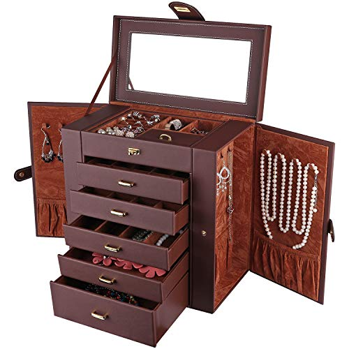 Duomiila Women Jewelry Box Large Leather Jewelry Organizer Makeup Jewellery Storage Case 5 Drawers Jewelry Storage with Mirror for Necklaces Earrings Rings Bracelets Lipstick (Brown)