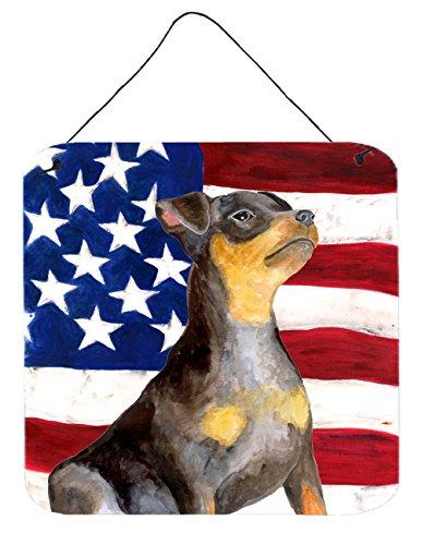 Caroline's Treasures Miniature Pinscher #2 Patriotic Metal Print, 6h x 6w, USA American Flag