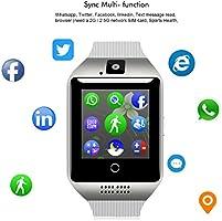 Padcod Bluetooth Smart Watch Q18 2G GSM Network Calling/Bluetooth Calling, Pedometer,Sleep Monitor,Camera,Music Player. (White_Silver)