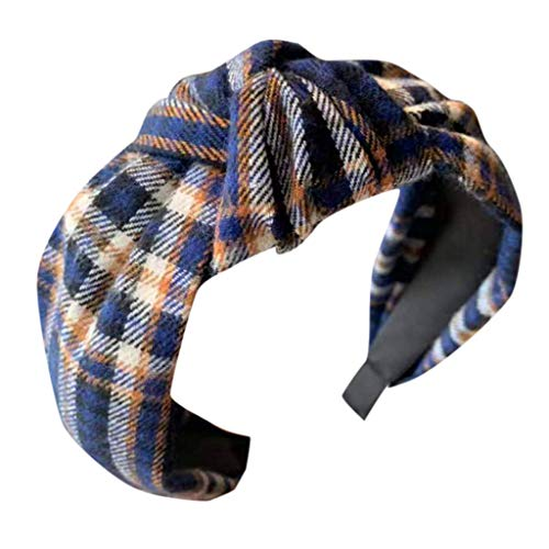 (Retro Plaid Printed Headband Women's Bow Cross Tie Scarf Hair Band Side Slip Headwear Accessories MEEYA)
