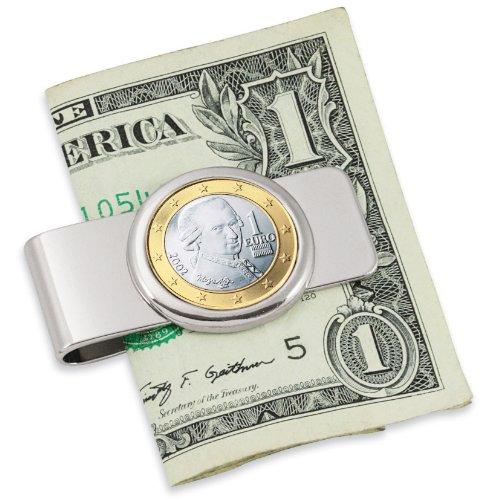 Religious Money Clips (American Coin Treasures Austrian Mozart One Euro Coin Silvertone Coin Money Clip)