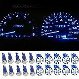 Komingo Sold 10 Qty Blue T5 1 SMD 5050 Dashboard Wedge Car LED Light Bulb Lamp+ T10 194 168 6 SMD 1206 LED Indicator Light Dash Lamp for Car Vehicle (10*T5 5050LED Bulb+10*T10 1206LED Bulb)