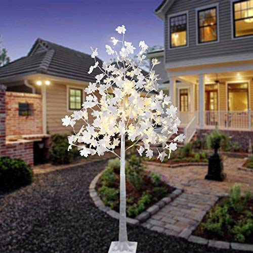 LIGHTSHARE 6 ft. Maple Tree - 120 LED Lights, Warm White, Cold White Lights and Mixed Lights Color, White Finish