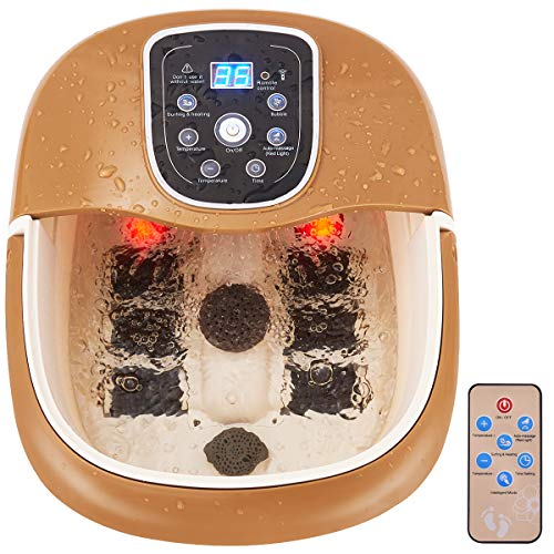 Giantex Foot Spa Bath Massager with Heating, Infrared Bubbles Time Temper Setting Foot Shower Water Jets Foldable Handle Drainage Hose Locking Caster 6 Roller, Heated Foot Baths w/Remote Controller