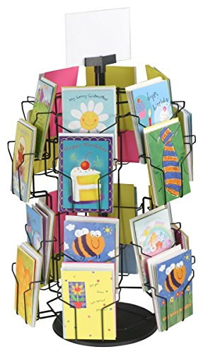 Greeting Card Display Stand with (24) 5 x 7 Pockets for Countertop Use, 29 inches Tall, Rotating Wire Rack - Black Wire with Plastic Base and Sign Holder