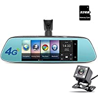 junsun 4G Universal Dash Cam Car DVR Camera Dual-lens 8 Touch Android GPS Navigation Rear View Mirror with Rearview Camera WiFi Bluetooth G-sensor Night Vision