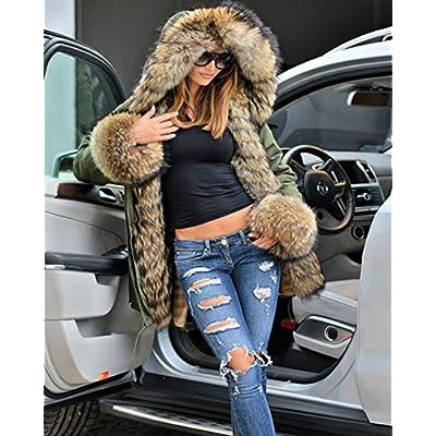 Aofur Womens Hooded Faux Fur Lined Warm Coats Parkas Anoraks Outwear Winter Long Jackets: Clothing