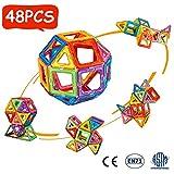 Crenova Magnetic Blocks, 48PCS Rainbow Magnetic Building Blocks