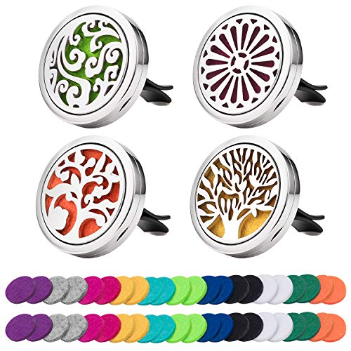 4 Pack Car Essential Oil Diffuser Vent Clip, Stainless Steel Locket 44 Felt Pads