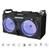 EARISE DT60-E Portable PA System Bluetooth Speaker with Wireless Microphone, Rechargeable DJ Party Speaker, 2 X 5.25'' Subwoofer with Equalizer, FM Radio, Remote Control, LED Light, AUX/MicroSD/USB/NFC