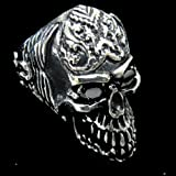 Men 316L Stainless Steel Men's Black CZ Eyes Skull Head Ring for Harley Rider Motor Biker TR-69