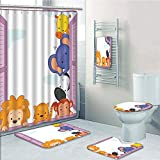 Bathroom 5 Piece Set shower curtain 3d print,Zoo,Cute Colorful Animals Peeping at Pink Window Cartoon Frame Cat Monkey Lion Elephant Decorative,Multicolor,Bath Mat,Bathroom Carpet Rug,Non-Slip,Bath To