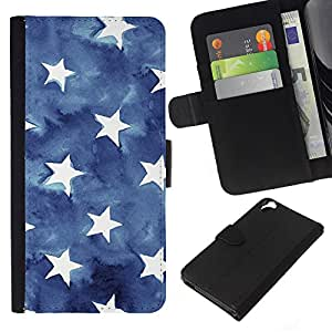 All Phone Most Case / Oferta Especial Cáscara Funda de cuero Monedero Cubierta de proteccion Caso / Wallet Case for HTC Desire 820 // Flag Stars Patriotism Watercolor Blue