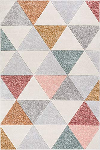 Well Woven Suave Angles Dusty Pink Red Copper Blue Grey Modern Geometric Hand Carved 5x7 (5'3