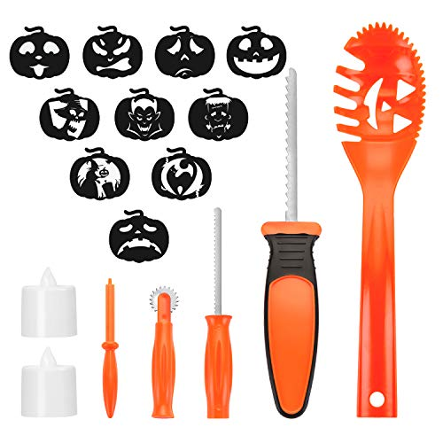 NEWBEA Halloween Pumpkin Carving Kit for Kids,5pcs DIY Pumpkin Carving Tools,2 LED Candle Lights and 10 pcs Halloween Carving Stencils Templates