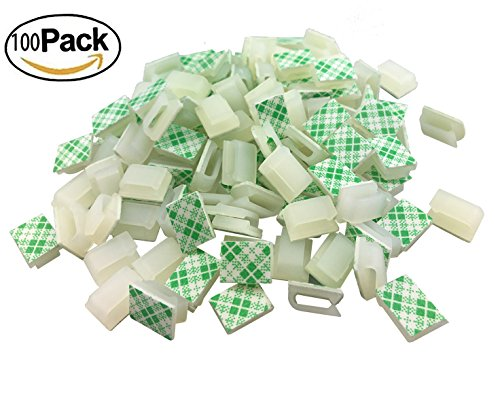 Ethernet Cable Clips,Ruaeoda 100 Pack 8mm Self-Adhesive Wire Clips, Cord Clamp Cable Management for Cat6 and Cat7 Flat Ethernet Cable(White)