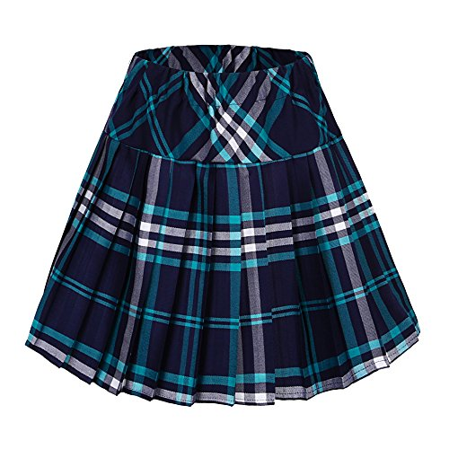 Blue Plaid Pleated Skirt - Urban CoCo Women's Elastic Waist Tartan Pleated School Skirt (Large, Series 4 Blue)