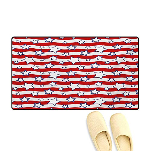 Door Mats,Horizontal Wavy Bands Background with Stars Homeland The Old Country Image,Bath Mat Bathroom Mat with Non Slip,Red Navy Blue White,16