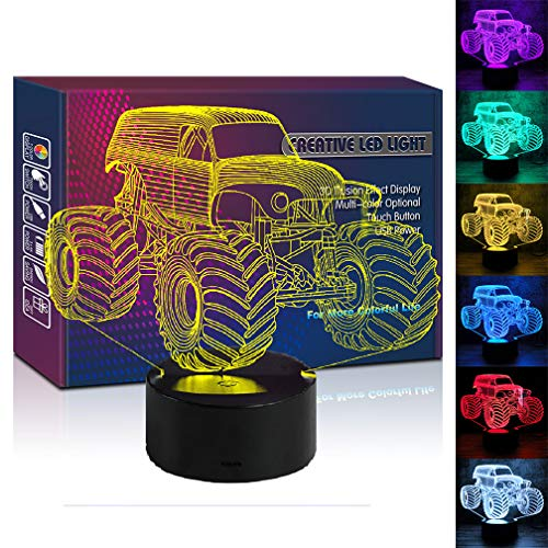 HIPIYA Monster Truck 3D Illusion Led Lamp 7 Color Car Night Light Birthday Gift Christmas Present for Boy Boyfriend Men Kid Sports Fan Home Office Lighting Toys Decoration Room Bedroom Decor (Monster)