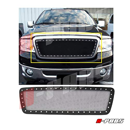 A Pads 1pc Black Upper Main Steel Mesh Grille With Silver Rivets For Ford F150 2004 2008 Replacement Without Logo Show