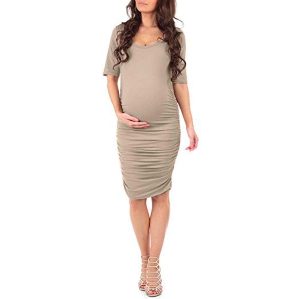 Amphia Vestido de Mujeres Embarazadas, Vestido de Verano de Manga Corta Embarazada Embarazadas Maternidad de Verano con Pliegues KH/XL: Amazon.es: Ropa y ...