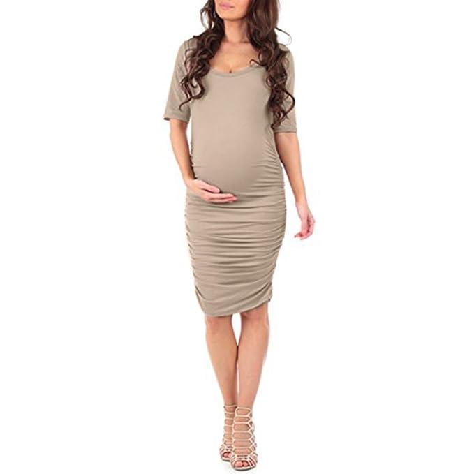 Amphia Vestido de Mujeres Embarazadas, Vestido de Verano de Manga Corta Embarazada Embarazadas Maternidad de