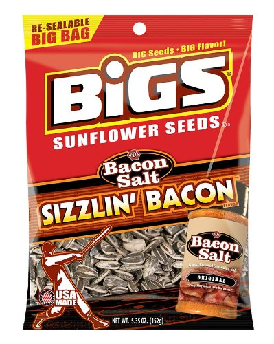 Bigs Bacon Salt Sizzlin' Bacon Sunflower Seeds, 5.35 Ounce (Pack of 12) by BIGS