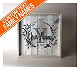 Wall decor Custom Family Name on Reclaimed Wood (14.5Wx14.5L) For Sale