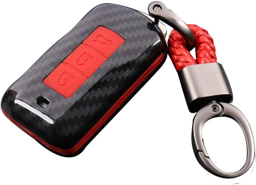 Happyit Abs Kohlefaser Shell Silikon Autoschlüssel Case Abdeckung Schlüsselbund Für Mitsubishi Outlander Lancer 10 Ex Pajero