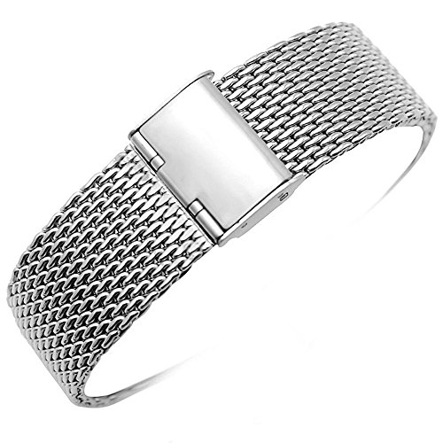 YISUYA 22mm Solid Milanese Mesh Stainless Steel Strap with Hook Buckle Classic Polished Silver/Balck Watch Band Straps 2.2cm (22MM, Silver)