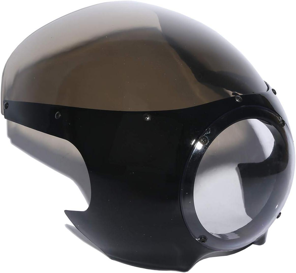 Krator Motorcycle 5-3//4 Headlight Fairing Screen Black /& Smoke Retro Cafe Racer Drag for Harley Davidson Sportster 883 2004-2009