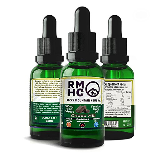 Rocky Mountain Hemp Co : Premium Full Spectrum Hemp Oil for Pain Relief : Sleep Aid :: Supports Stress, Anti Anxiety: Herbal Health Supplement Drops : Rich in Omega 3 6 9 (Chocolate, 500) by Rocky Mountain Hemp Co.