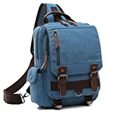 Cheap Medium Canvas Sling Bag Crossbody Chest Backpack for Men Women Casual Shoulder Daypack Sport Travel Jean Blue